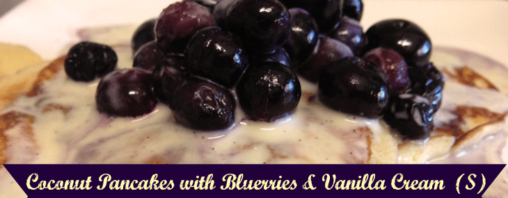 Coconut Pancakes with Blueberries & Vanilla Cream {S}